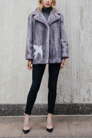 Printed Mink Fur Jacket with Notch Lapels