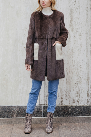 Mink Fur Coat with Contrast Pockets