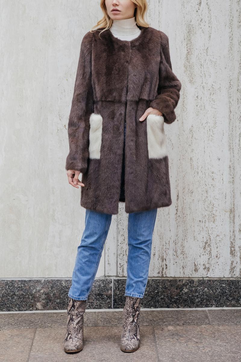 Mink Fur Coat with Contrast Pockets