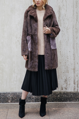 Mink Fur Coat with Contrast Pockets and Notch Lapels
