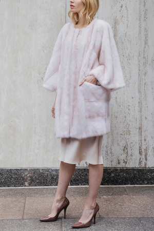 Mink Coat with Butterfly Sleeves and Side Pockets